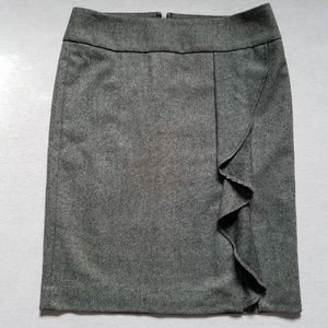 Talbots pencil straight skirt ruffle slit tweed 10